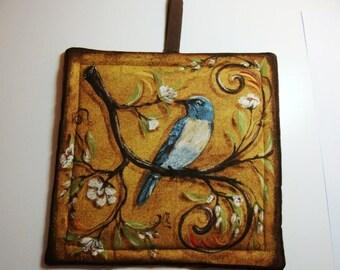 Bird print pot holder - gold
