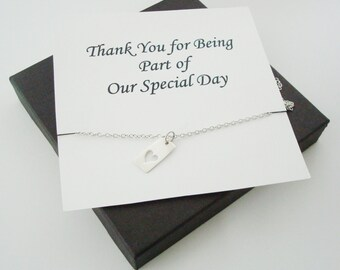 cut out heart tag sterling silver necklace personalized jewelry card for bridal party sisters mom mother of groom sister of groom