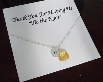Citrine Briolette with Letter Initial Silver Necklace ~Jewelry Gift for Best Friend, Sister, Cousin, Bridal Party, Sister of Groom and Bride