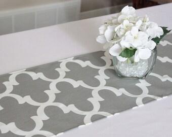 Delightful Gray Moroccan Tile Table Runner, Choose Length, Quatrefoil Table Runner,  Grey Modern Table Runner, Wedding Runner, Dining Table, Kitchen