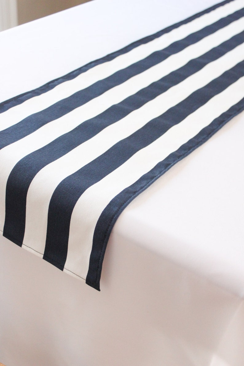 Navy and white striped table runner Choose length Nautical image 0