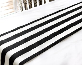 Black & white stripe table runner, Choose length, Wedding, Kitchen, Dining, Graduation table decor, Baby shower, birthday party