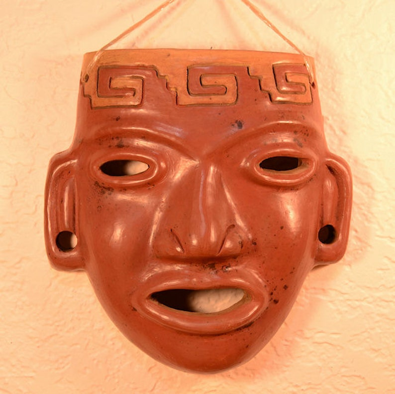 Red Mask  Ceramic Mask  Aztec Mask  Precolumbian  Ceramic image 0