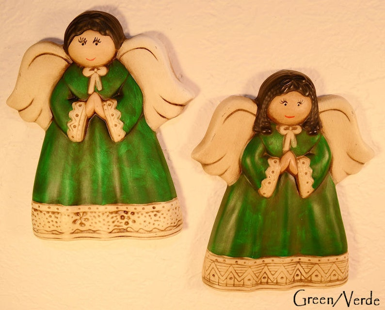 Pair of GREEN Handpainted Wall Decor Ceramic Angels image 0