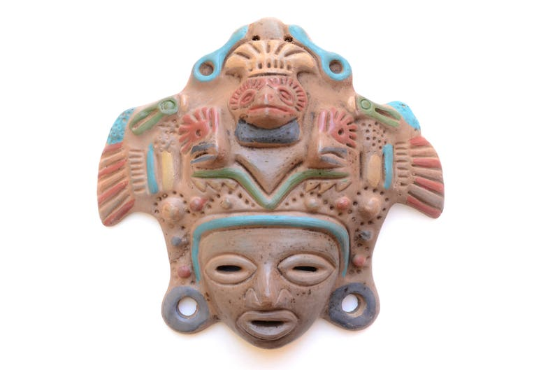 Aztec Eagle Warrior Ceramic Mask Aztec Mask Precolumbian image 0