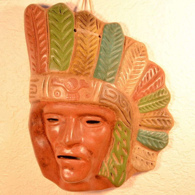 Ceramic Mask  Aztec Mask  Precolumbian  Ceramic Wall Decor image 0