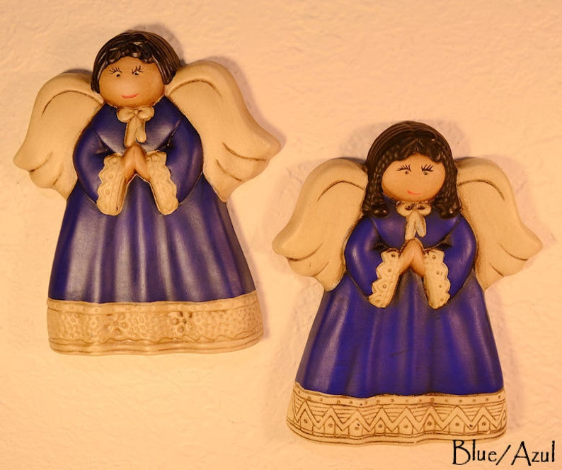 Handpainted Wall Decor Ceramic Angels Children wall Decor Blue