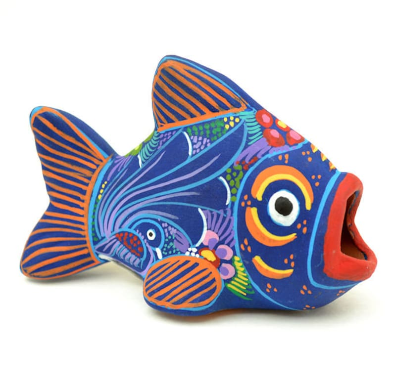 Handpainted Clay Fish Colorful Folk Art Home Decor miniature image 0