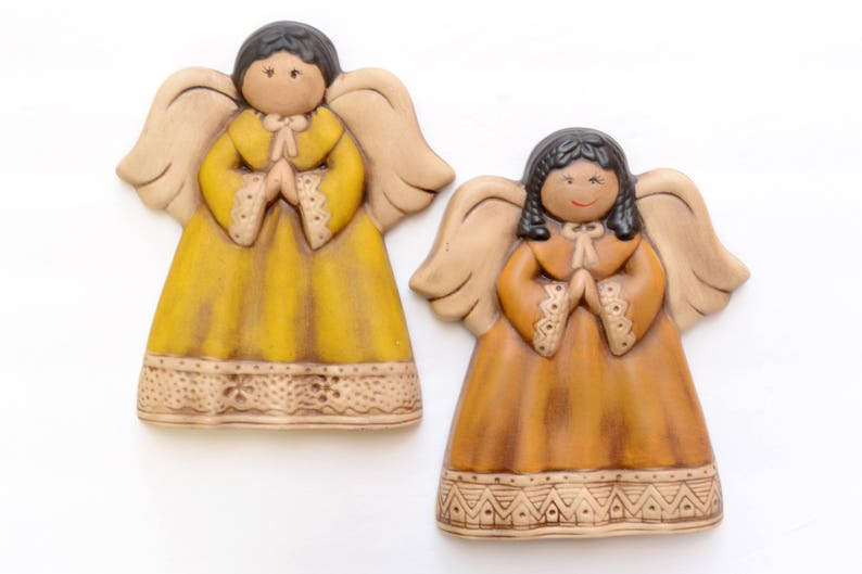 Set of Wall Hanging Ceramic Angels Wall Decor Angels image 0
