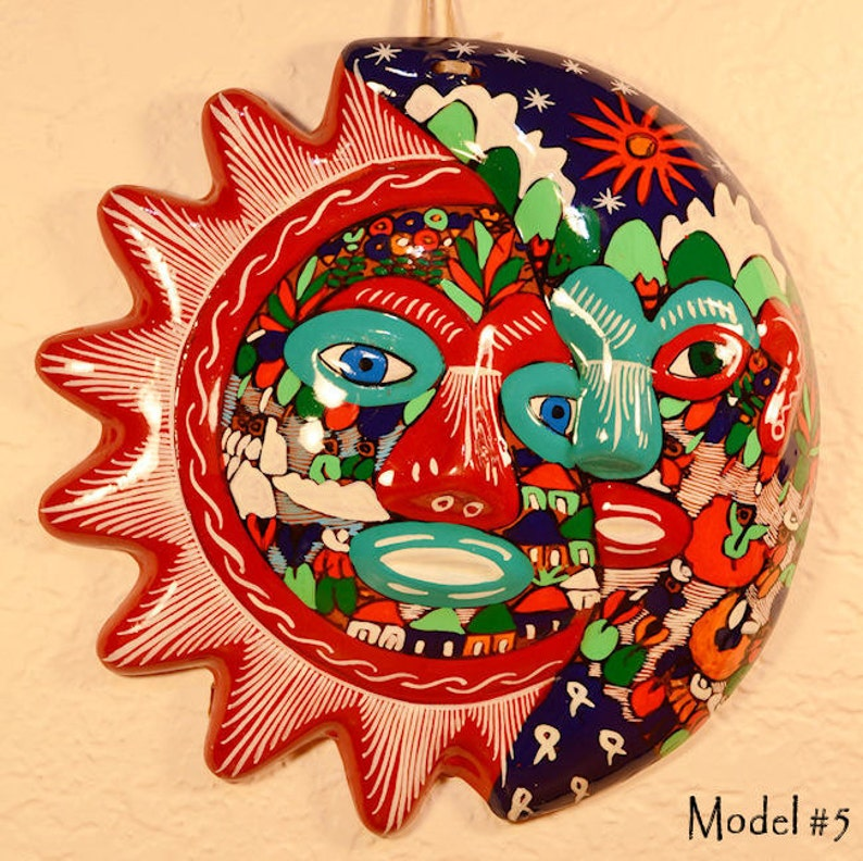 Large Ceramic Sun and Moon Decor Wall Decor Wall Hanging image 0