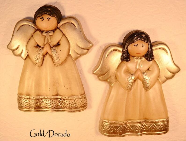 Set of Handpainted Ceramic Angel Wall Decor  Nursery Decor Gold