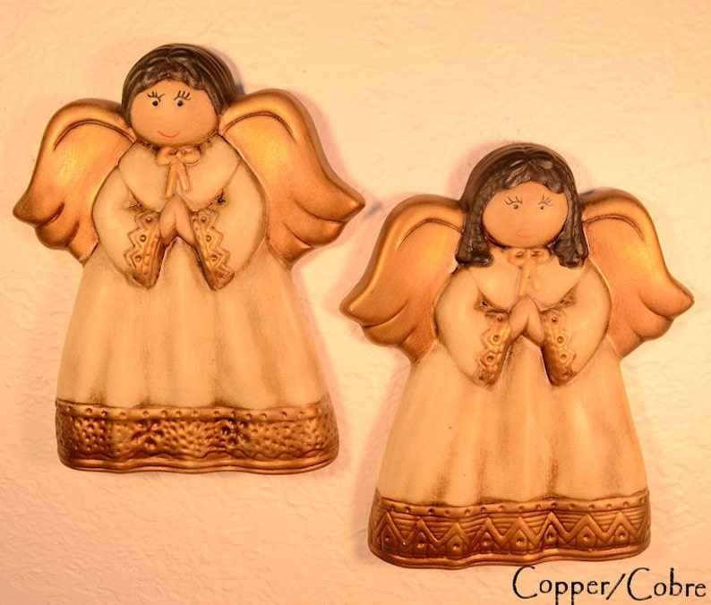 Pair of BRONZE Handpainted Wall Decor Ceramic Angels image 0