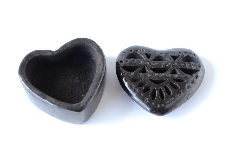 Small Trinket Heart-shaped Ceramic Box  Handmade Jewelry Box image 0