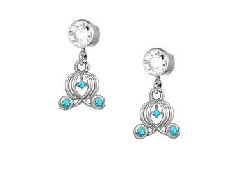 Fairy Tale Challenge Carriage CZ Dangle Earrings