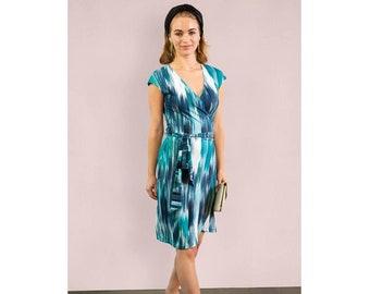 Teal Striped Wrap Dress Mod Wrap Dress Stretch Dress Chevron Navy Wrap Work Outfit Purple Wrap Dress 70s Print Blue Long Sleeve