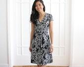 Chic Black White Wrap Dress, Flared Wrap Dress, Cheetah Print Dress, Animal Print Dress, Pleated Real Wrap Dress, Shirred - CLEARANCE, SALE