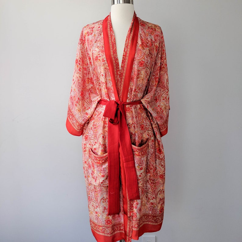 Knee Length Kimono Boho Kimono Bohemian Kimono Robe Duster image 0