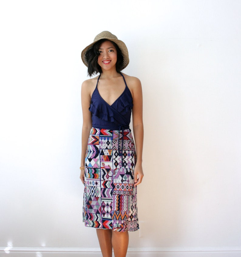Boho Ruffle Dress Bohemian Dress Ruffle Wrap Dress Wrap image 0