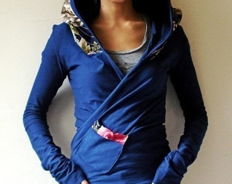 Hoodie Wrap, Japanese Print and Organic Soy Jersey - KANA