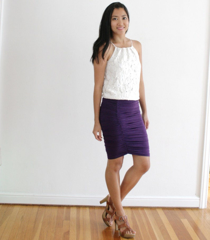 Shirred Pencil Skirt Ruched Pencil Skirt Stretch Pencil image 0