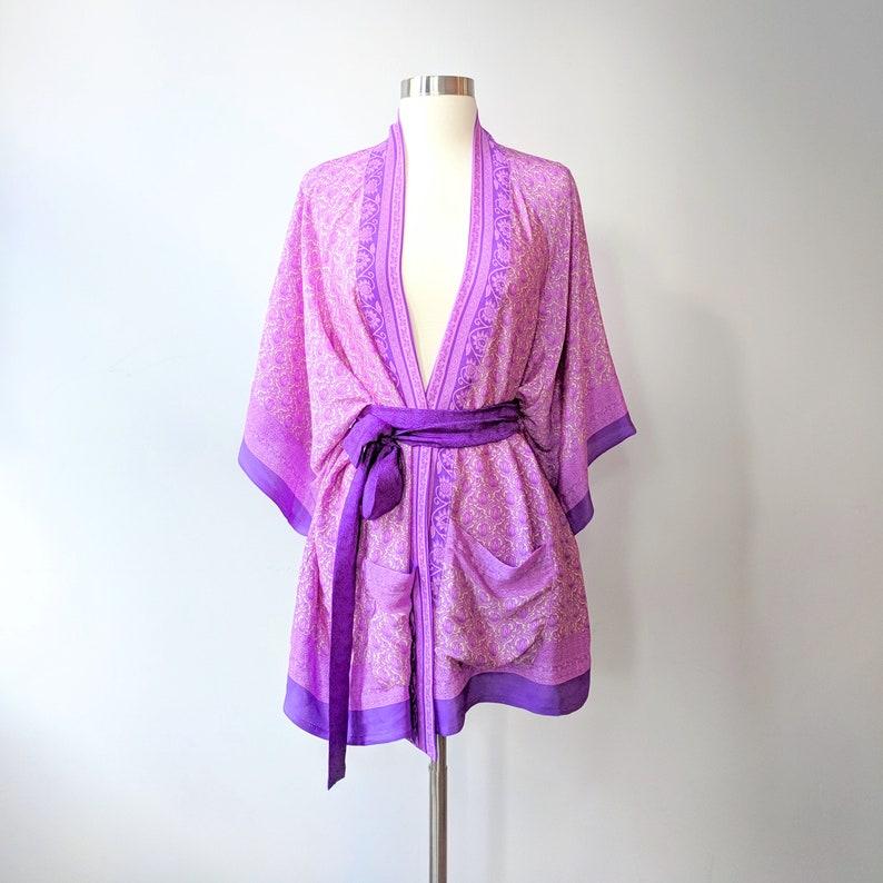 Purple Kimono Robe Kimono Wrap Top Bohemian Wrap Blouse image 0