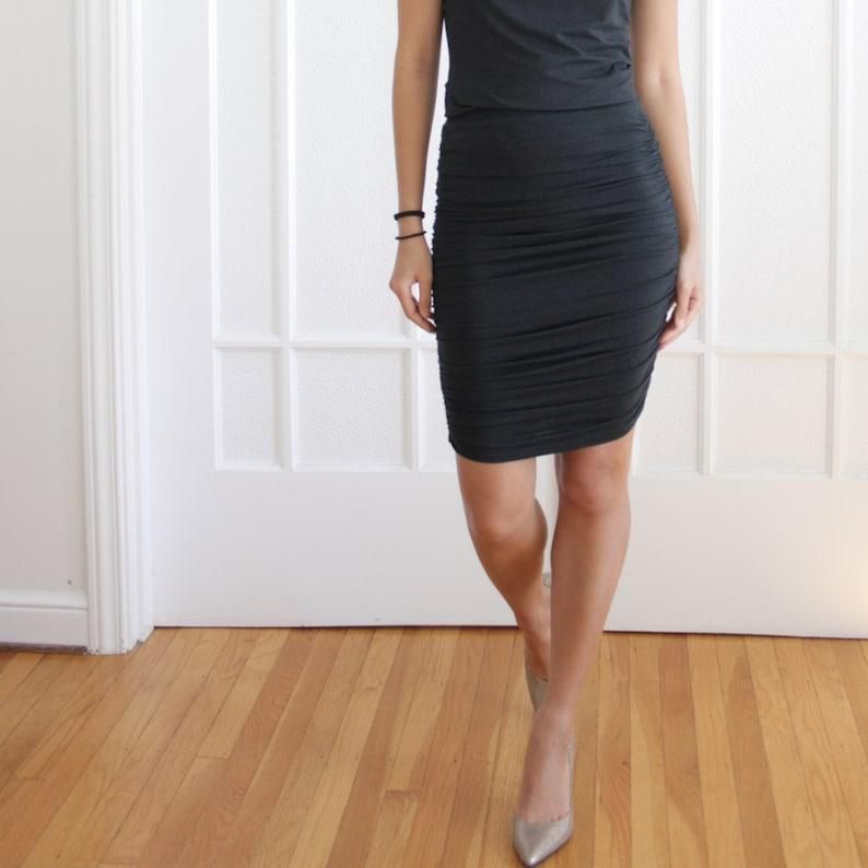 LARGE  SAMPLE SALE  Black Pencil Skirt Organic Cotton image 0