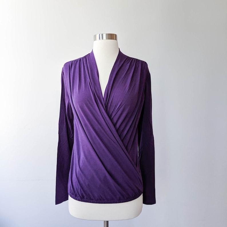Yoga Wrap Top Long Sleeve Wrap Top Organic Cotton Tshirt image 0