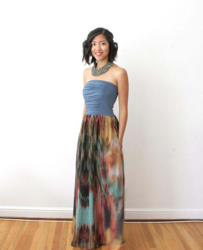 Boho Maxi Dress Formal Bridesmaid Dress Convertible Print image 0