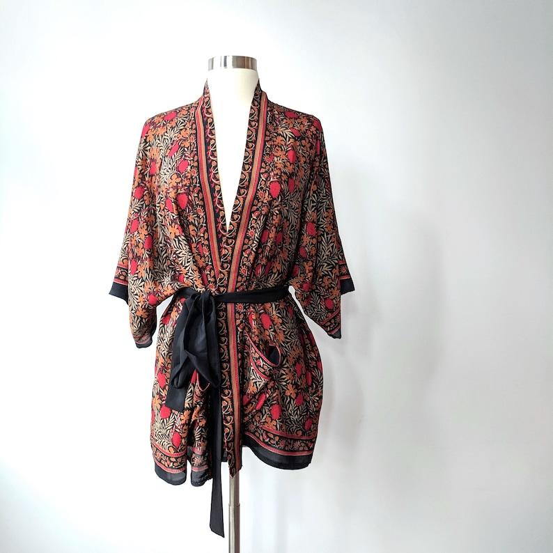 Dark Kimono Bohemian Kimono Tunic Kimono Wrap Top Belted image 0