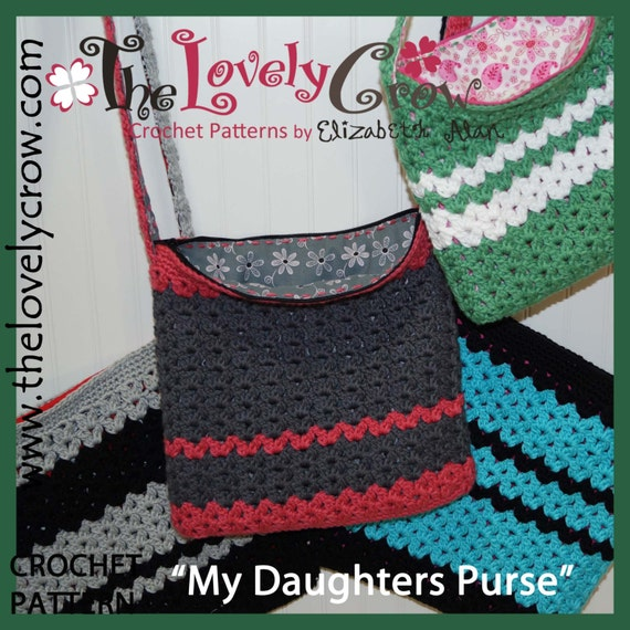 Crochet Tote Pattern My Daughters Purse By The Lovely Etsy