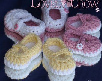 Crochet Pattern Booties BULKY BABY BUTTON Maryjanes digital