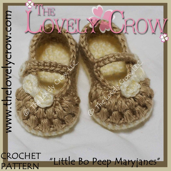Baby Booties Crochet Pattern Little Bo Peep Mary Janes Etsy