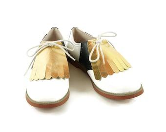 908f840b49e46 Aqua Leather Kilties for Mens Golf Shoes Saddle Shoes and | Etsy