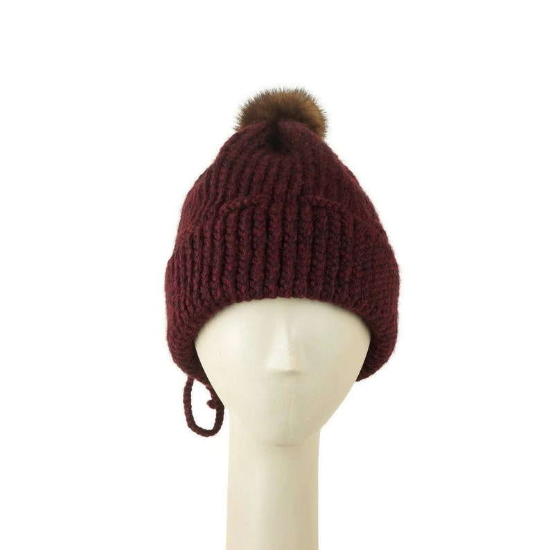 Mulberry Beanie Hat for Women Womens Beanie Hat Genuine Mink image 0