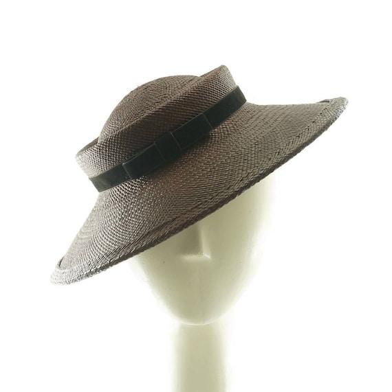 Cappello di paglia marrone per le donne piattino cappello  d41afc0f17dc