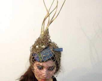 Sea Detritus FASCINATOR / Avant Garde Mermaid Headpiece / Handmade by Marcia Lacher Hats