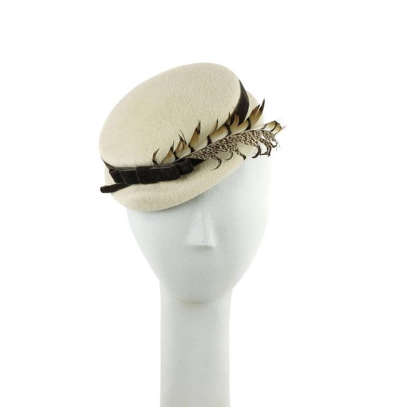 Womens Hat Church Hat Cream Hat Off White Fascinators Light Taupe Hat Ecru Wedding Hat White Hat Off Mother of the Bride Fascinator