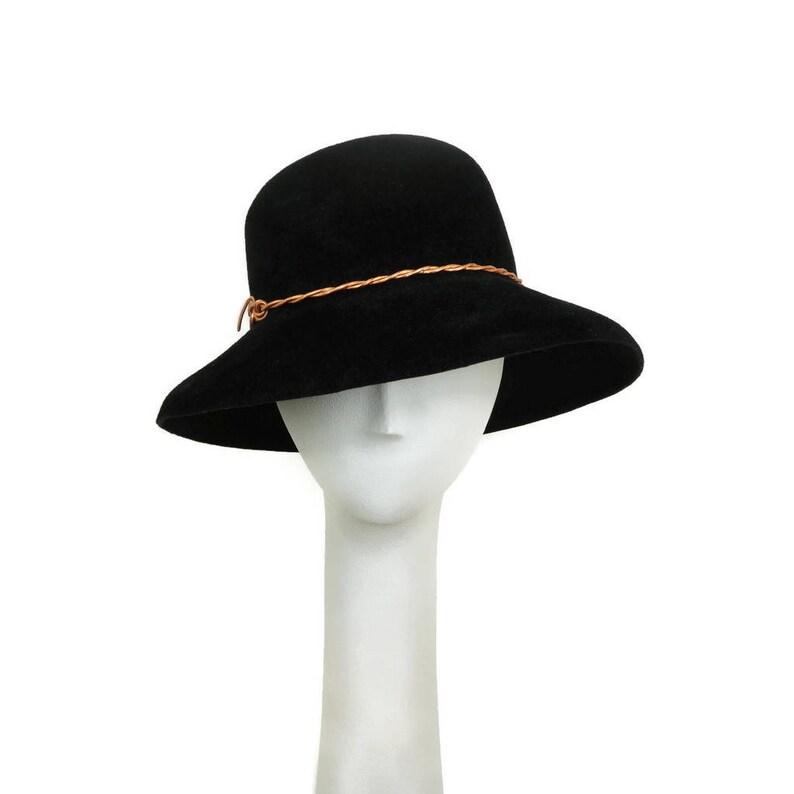 Black Wide Brim Hat for Women Felt Hat Winter Hat Black image 0