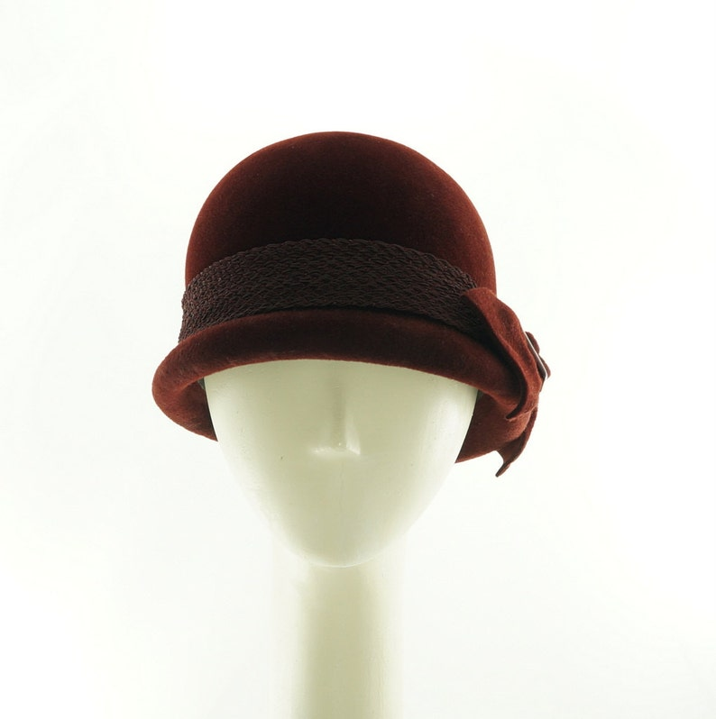 Oxblood Red Winter Hat Red Hat Bowler Hats for Women Derby image 0