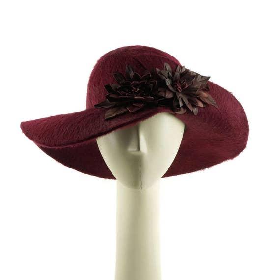 Mother of the Bride Hat Burgundy Hat Wide Brim Hat for  d3b88ff734e
