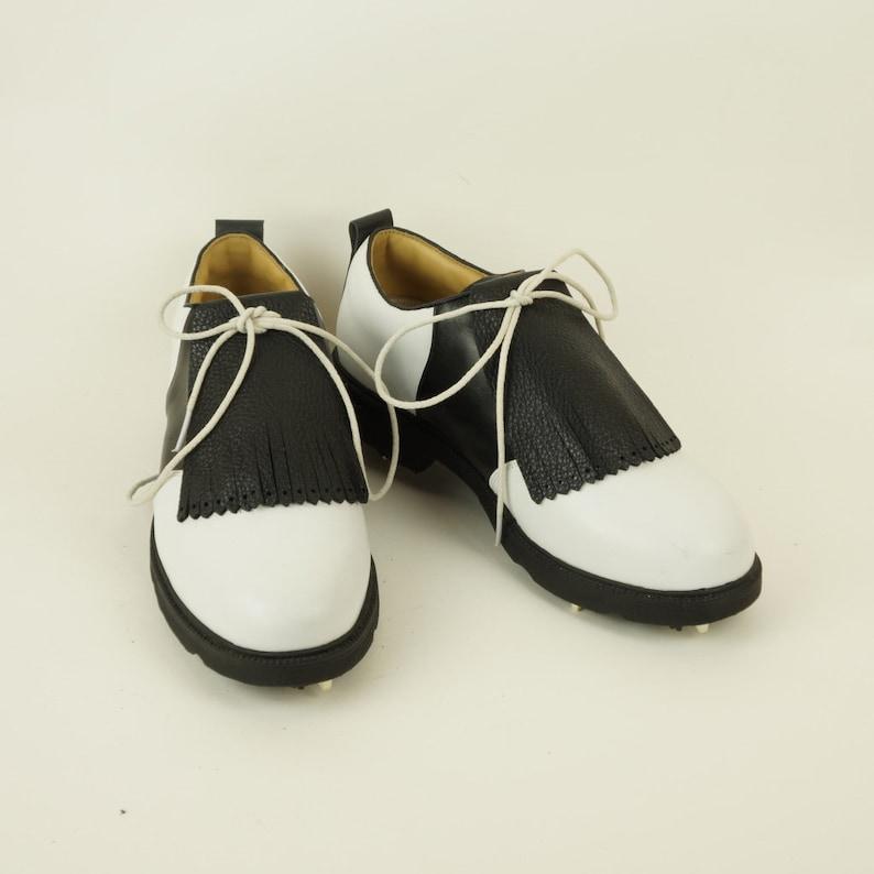 Black Pebbled Leather Kilties for Mens Golf Shoes Saddle image 0