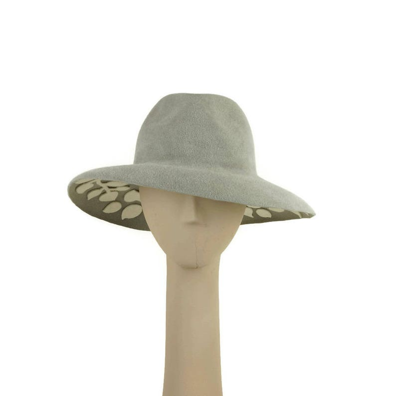 Mother of the Bride Hat Ladies Hat Gray Felt Hat for Women image 0