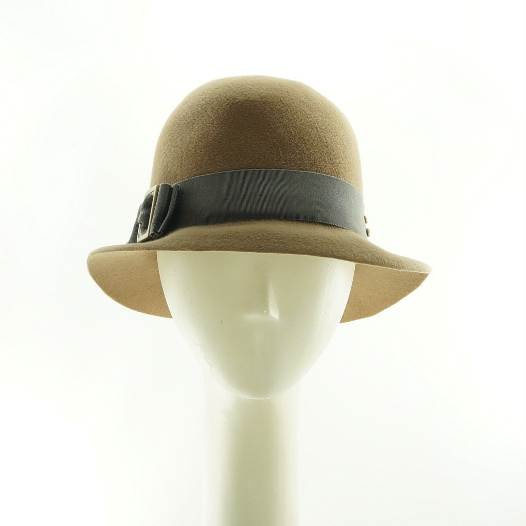 Tan Fedora Hat for Women Womens Winter Hat Felt Hat Vintage  c8f3b1bd0f6