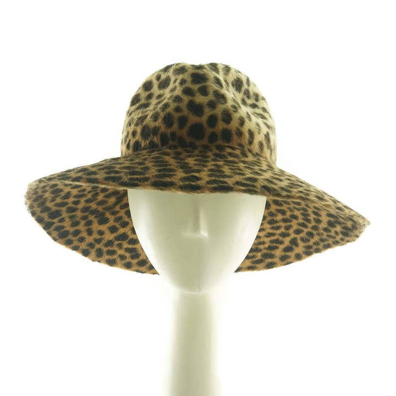 675f19ef49a60 Animal Print Wide Brim Hat Felt Hat Fedora Hat for Women