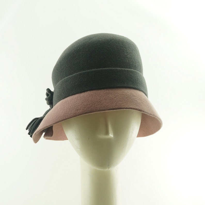 Pink and Gray Cloche Hat Vintage Hat Style Cloches Felt Hat image 0