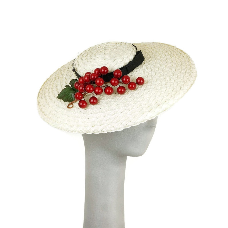 Straw Boater Hat for Women Occasion Hat Bunch of Cherries image 0