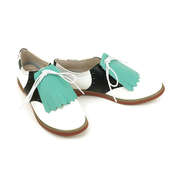 5d0248607ad7f Green Kilties for Womens Golf Shoes, Saddle Shoes, Lindy Hop Shoes, Golf  Gifts for Women Gifts for Golfers, Lindy Hop Gifts Shoe Accessories