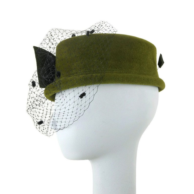 Wedding Hat Dress Hat Veil Hat Felt Hat Fancy Hat Green Mini Top Hat Winter Hat Mother of the Bride Hat Millinery Hat Handmade Hat,