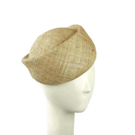 Hat handmade millinery natural straw