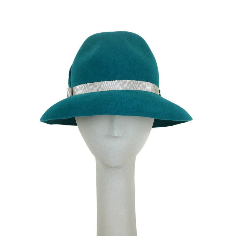 Turquoise Fedora Hat for Women Winter Hat Dress Hat Races image 0
